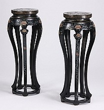 (2) Chinese carved and decorated pedestals