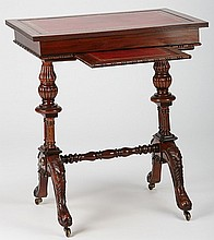 Petite mahogany leather top writing desk