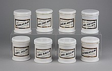 (8) Milk glass covered apothecary jars
