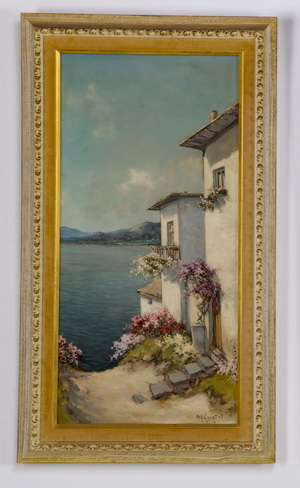 Alfredo Caldini signed O/c Mediterranean vista