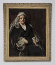 Anna Lea Merritt signed O/c of Spanish matron, 19th c
