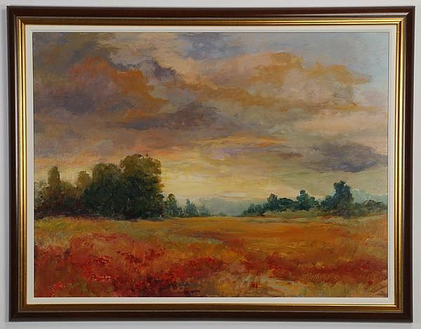 Joan Hilliard signed, O/c, landscape