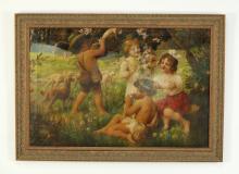 Friedrich Schlegel signed pastoral O/c of children