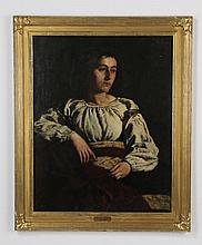 19th c. O/c portrait, signed Wilhelm Lowith