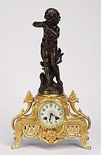 19th c. French patinated & gilt metal clock
