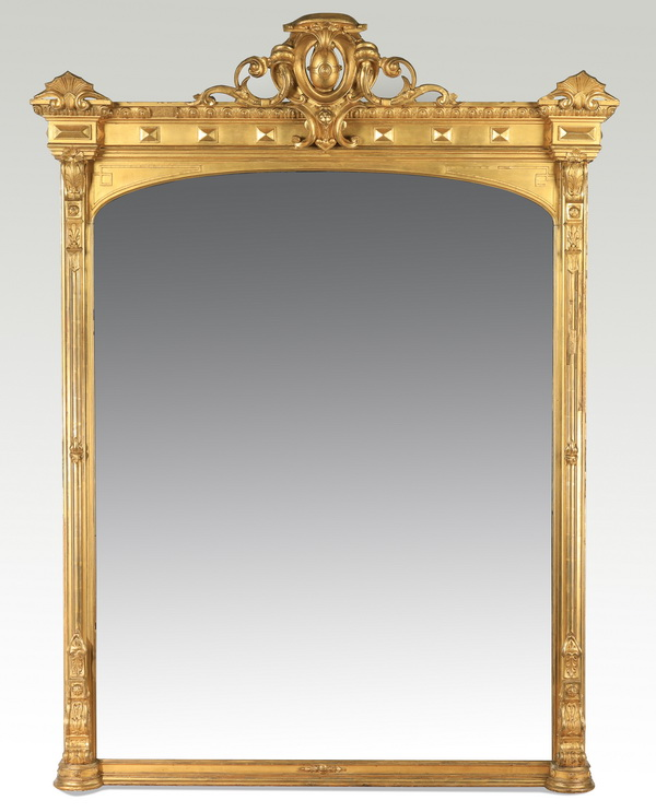 19th c. monumental gilt wood mirror, 92