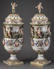 (2) 19th c. Capodimonte lidded urns, marked, 31