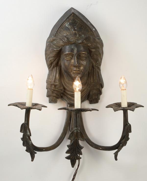 Continental bronze maiden mask 3-light sconce
