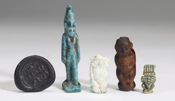 (5) Ancient artifacts, including Egyptian amulets