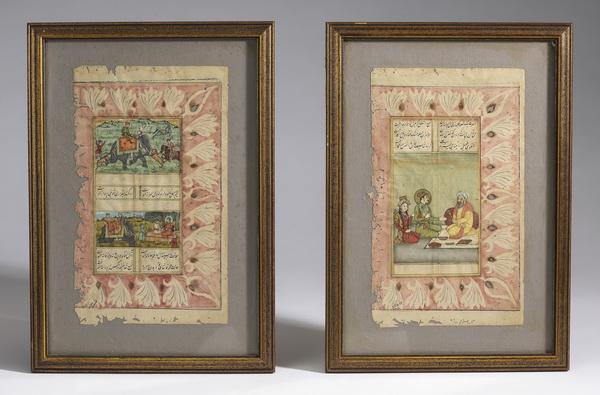 (2) Indo-Persian manuscript pages w/ hunt scenes