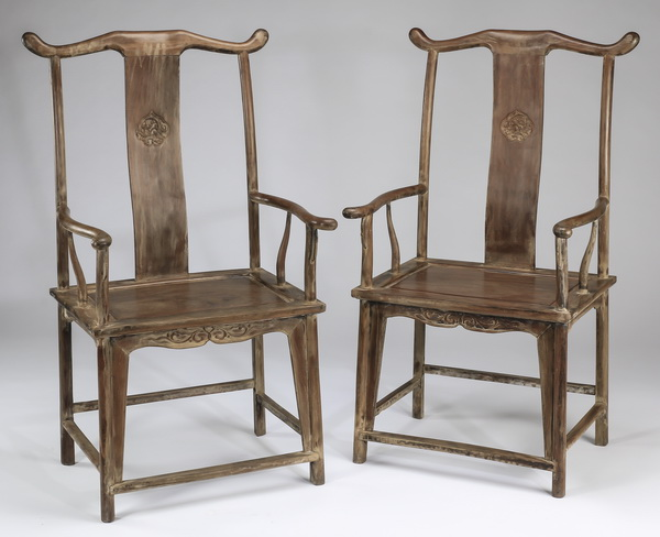 (2) Chinese carved yoke-back armchairs, 46