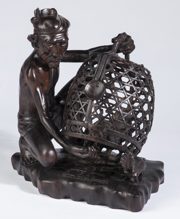 Balinese carved rosewood sculpture, signed, 11