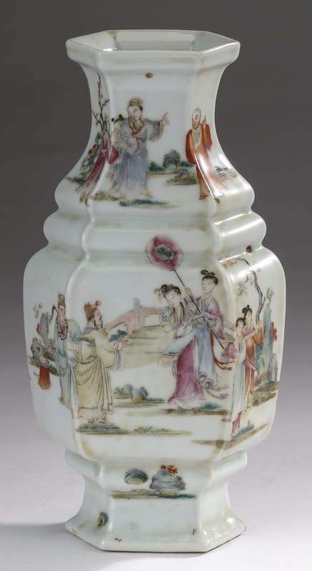 Chinese famille rose vase with court scenes