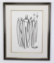 Creason Clayton signed work on paper 'Buckhead Bunch'