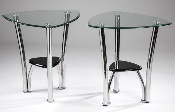 (2) Contemporary glass & chrome side tables, 25