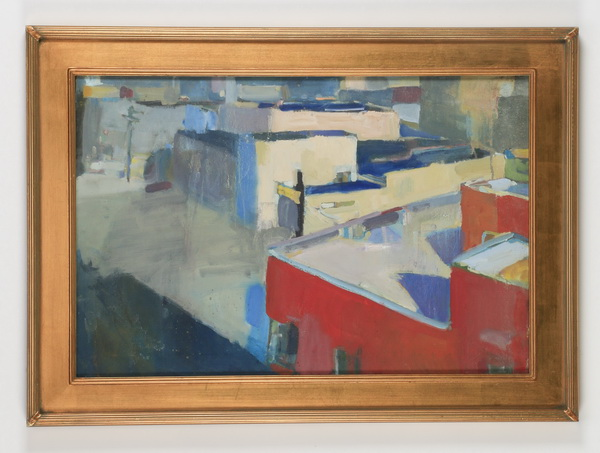 Contemporary abstract O/c of city buildings, signed