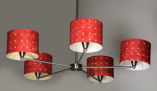 Contemporary chrome chandelier w/ red paper shades