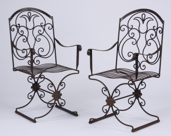 (2) Handcrafted wrought iron armchairs