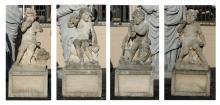 (4) Italian carved limestone putti on bases, 66