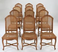 (12) French Provincial style walnut & cane chairs