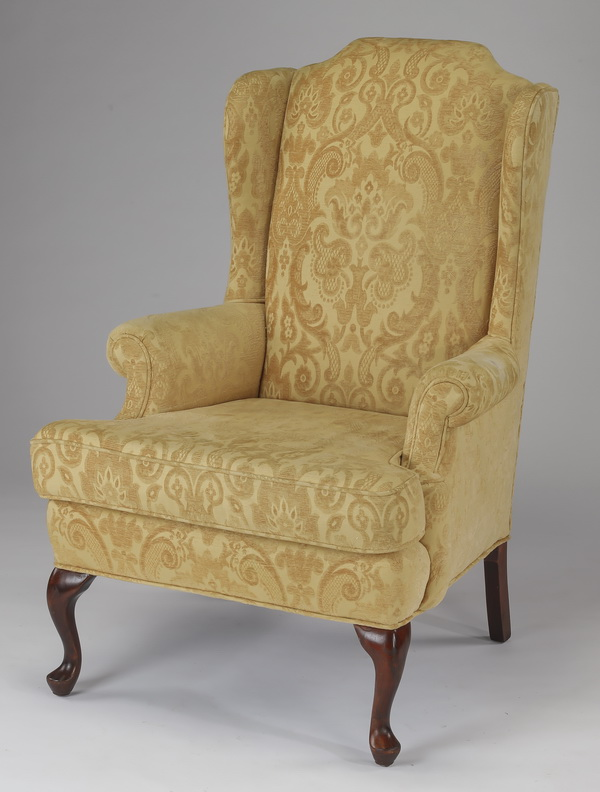 Chippendale style wingback chair, 45