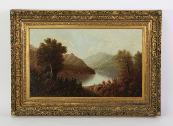 19th c. American School O/c lake scene