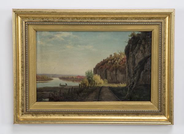 19th c. Thomas Hill O/c of railroad near lake, signed