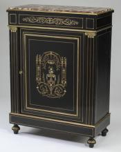 19th c. French brass & mother of pearl inlaid cabinet