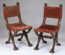 19th c. Italian walnut side chairs with paw feet