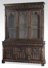 Monumental 19th c. French Gothic Revival oak cabinet