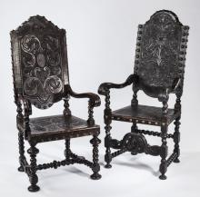 (2) Portuguese rosewood & embossed leather chairs
