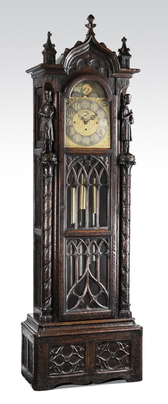 19th c. French Gothic Revival tall case clock