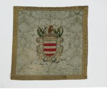 Embroidered heraldic shield wall hanging, 36