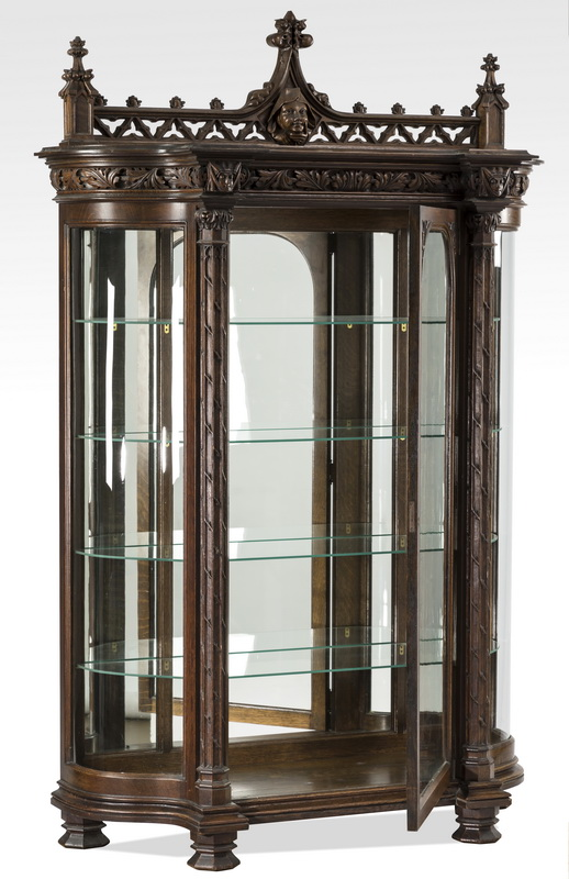 19th c. Gothic Revival vitrine w/ carved monk's head