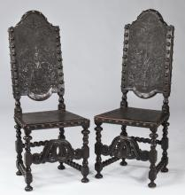(2) Portuguese rosewood &embossed leather chairs