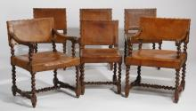 (6) 19th c. Jacobean-style chairs in original leather