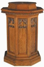 Early 20th c. Gothic Revival oak pedestal, 60