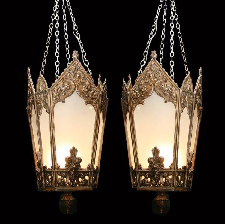 (2) 19th c. bronze Gothic Revival lanterns