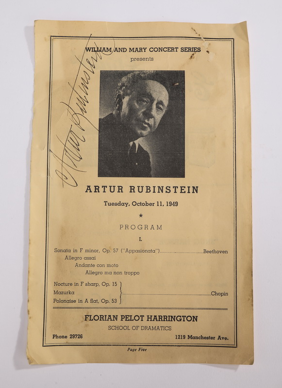 1949 Artur Rubinstein authographed program page