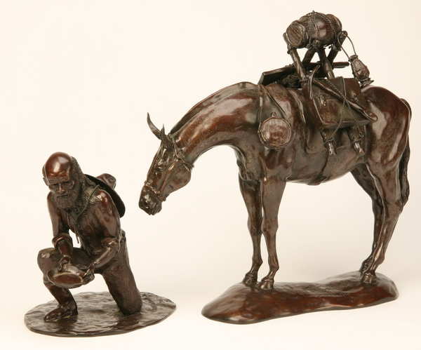 Bronze sculpture of gold miner & mule, signed, dated