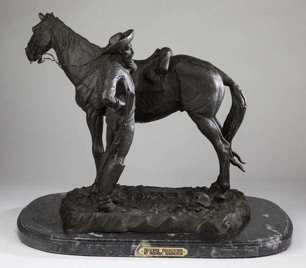 After Remington 'Trooper Thanatopis' bronze sculpture