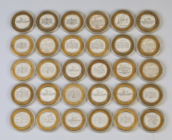(92) Limited edition $10 gaming tokens in .999 silver