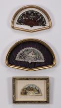 (3) Vintage hand-painted ladies fans in shadowboxes