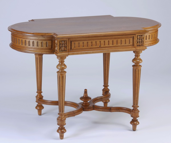 19th c. French carved walnut table, 42
