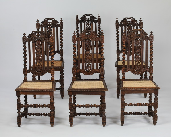 (6) 19th c.Jacobean Revival carved oak & cane chairs