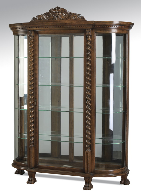 19th c. American carved oak vitrine w/ curved glass