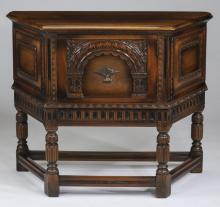 American carved walnut cabinet, 42