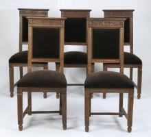 (5) 19th c. Louis XIV style velvet upholstered chairs