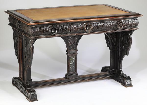 19th c Italian carved walnut trestle desk, 45