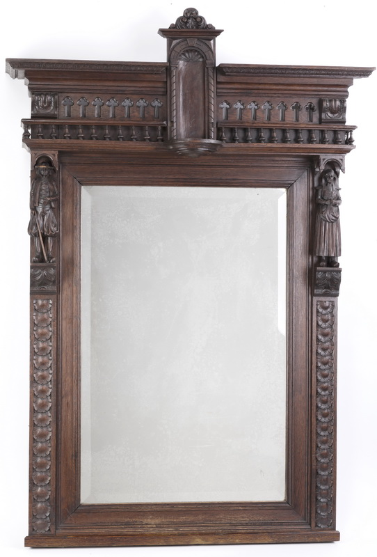 19th c. Breton carved walnut mirror